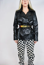 Y2K FAUX SNAKESKIN CROPPED TRENCH -MEDIUM