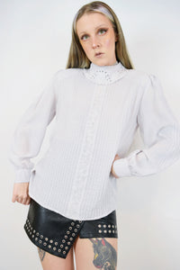 70s ROMANTIC EYELET BLOUSE - MEDIUM