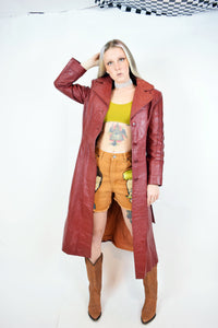 70s LESOLEIL LEATHER TRENCH - XS/SMALL