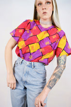 80s COLORFUL SILKY BLOUSE - M/L
