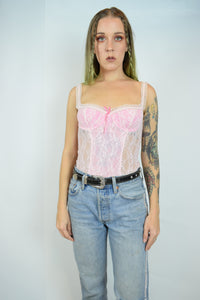 PASTEL PINK LACE BUSTIER TOP - XS/S