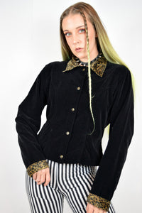 90s BLACK VELVET LEOPARD JACKET - MEDIUM