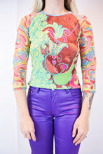 Y2K POP ART TECHNICOLOR BLOUSE - SMALL
