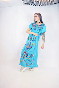 70s HUIPILES EMBROIDERED MAXI DRESS - SMALL