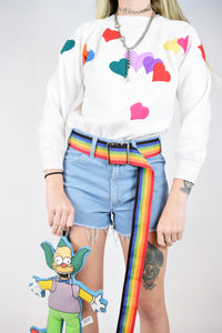 80s RAINBOW HEART JUMPER - XS/SMALL