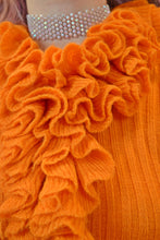 70s ORANGE RUFFLE SWEATER - XS