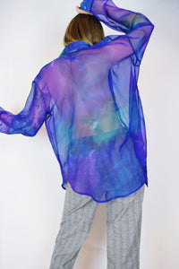 90s COLOR MELT CHIFFON BLOUSE - XL