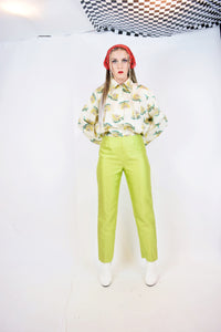 90s LIME GREEN TROUSERS - 4