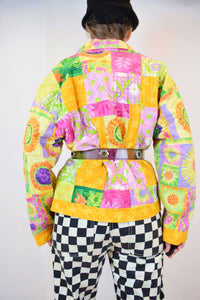 90s FLORAL QUILTED JACKET - MEDIUM