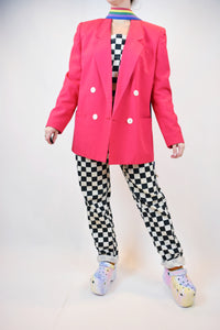 90s DOUBLE BREAST PINK BLAZER - M