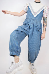 80s FLORAL JUMPSUIT - MEDIUM