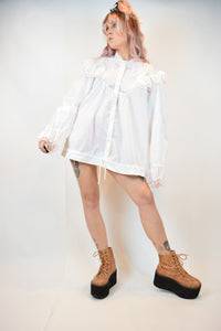 80s ANGELIC PUFF TUNIC BLOUSE - L/XL
