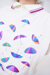 90s KITSCHY UMBRELLA BLOUSE - M/L