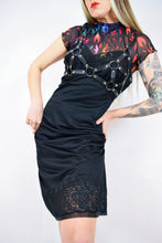 60s LACE BLACK MIDI SLIP DRESS - MEDIUM