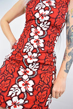 RED TIKI HIBISCUS MIDI - SMALL