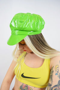 60s INSPIRED PVC LIME GREEN NEWSBOY CAP