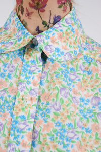 50s PASTEL FLORAL BLOUSE - MEDIUM
