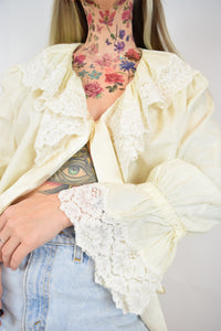 40s ROMANTIC LACE BLOUSE - L