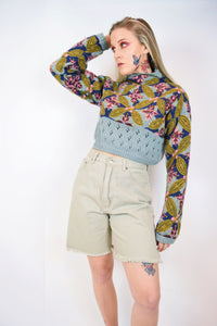 90s EMBROIDERED CROPPED SWEATER - SMALL