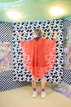 70s ORANGE SHEER SHAWL - O/S
