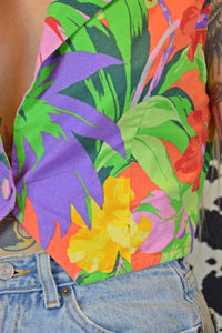 50s TECHNICOLOR FLORAL CROP VEST - MEDIUM