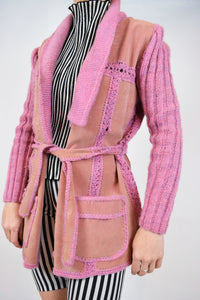 70s WOVEN N SUEDE PINK JACKET - S/M