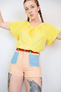 70S BRIGHT YELLOW ACCORDION BLOUSE - MEDIUM