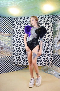 SEQUIN AND FEATHER PERFORMER COSTUME - XS-M