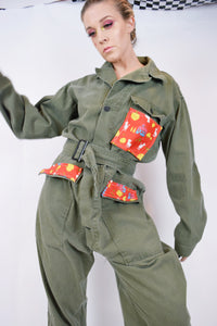 70s UPCYCLED UTILITY JUMPSUIT - LARGE
