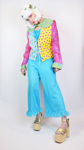 *OWLEPHANT ORIGINAL* TECHNICOLOR LACE UP BLOUSE - M/L