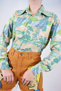 70s FOREST SCENE DAGGER COLLAR BLOUSE - MEDIUM