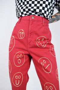 "90s RED UPCYCLED CAPRIS - 32"" WAIST"
