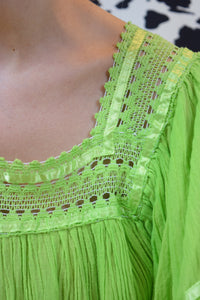 70s LIME GREEN GAUZY PRAIRIE TOP - M