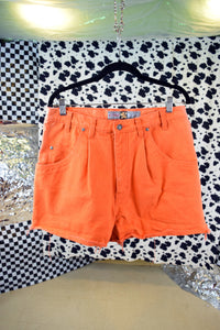 90s DISTRESSED ORANGE SHORTS - 33""
