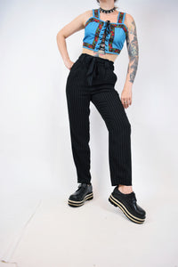 "90s HIGH WAIST PINSTRIPE PANTS - 30"" WAIST"
