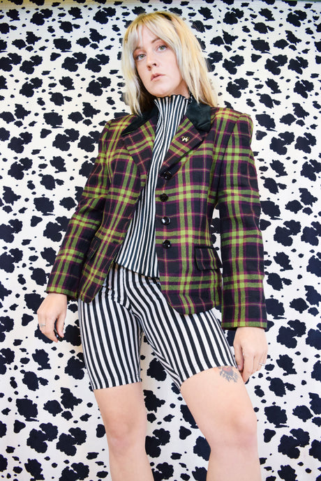 90s CLUELESS PLAID BLAZER - MEDIUM