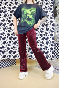 Y2K SEQUIN VELVET FLARES - MEDIUM