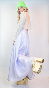 Y2K PASTEL PURPLE IRIDESCENT MAXI SKIRT - 27""