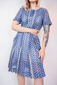 1940s EYELET LACE MIDI DRESS - MEDIUM