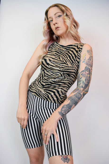90S IRIDESCENT ZEBRA BLOUSE - SMALL