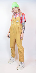 NEW AGE EMBROIDERED CORDOROUY OVERALLS - MEDIUM