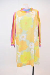60s TWIGGY FLORAL SHIFT DRESS - LARGE