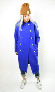 VTG 80S Power Blue Wool Trench Coat