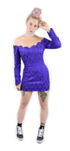 VTG 90s Neon Purple Scalloped Mini Dress