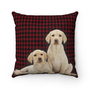 Lab On A Hound Red Faux Suede Square Pillow