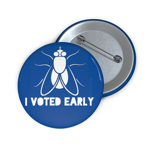 I Voted Early Blue Custom Pin Buttons