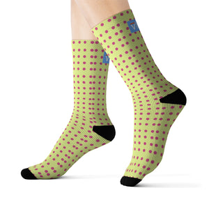 Vluxe DaDot Clasic Hot Pink Lime Socks