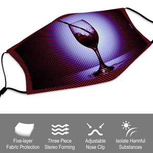 Vino Red Face Cover with Filter Element for Adults