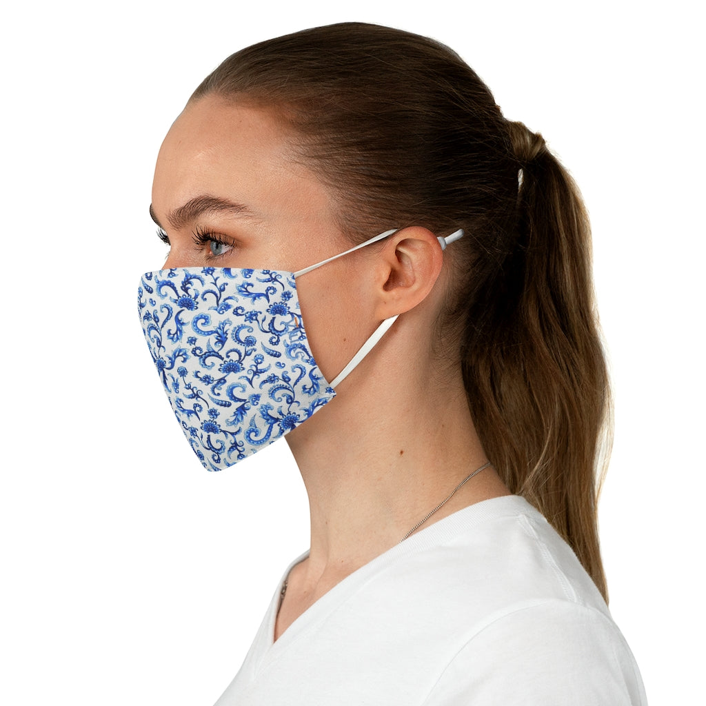 Tapestry Blue Double Layer Fabric Face Mask from Vluxe by Lucky Nahum