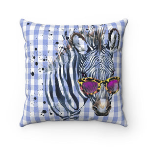 Elton Zebra Blue Check Faux Suede Square Pillow from Vluxe by Lucky Nahum